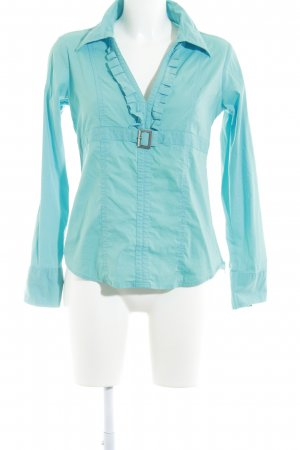 Sarah Kern Langarm-Bluse hellblau extravaganter Stil