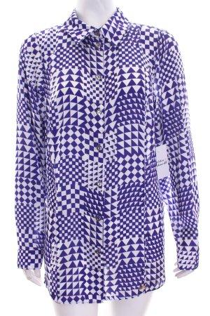 Sarah Kern Langarm-Bluse lila-weiß abstraktes Muster extravaganter Stil