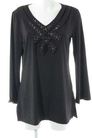Sarah Kern Langarm-Bluse schwarz-silberfarben Elegant