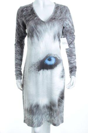 Sarah Kern Langarmkleid grau-hellblau Animalmuster Animal-Look