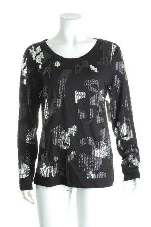 Sarah Kern Longsleeve schwarz-silberfarben Mustermix Materialmix-Look
