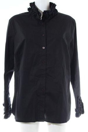 Sarah Kern Ruche blouse zwart zakelijke stijl
