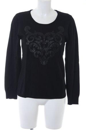 Sarah Kern Rundhalspullover schwarz abstraktes Muster schlichter Stil