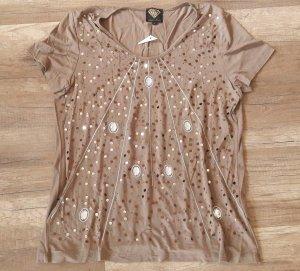 Sarah Kern Shirt T-Shirt Blusenshirt Taupe Glitzer