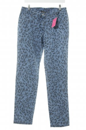 Sarah Kern Straight-Leg Jeans blau-schwarz Leomuster Casual-Look