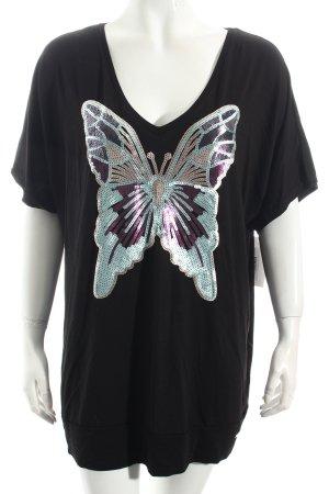 Sarah Kern V-Ausschnitt-Shirt schwarz Casual-Look