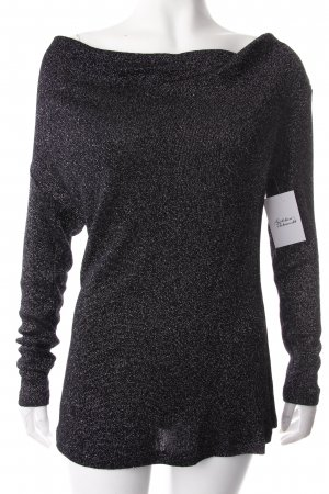 Sarah Kern Wasserfallshirt schwarz-silberfarben Streifenmuster Eleganz-Look