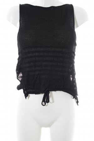 Sarah Pacini Cropped top zwart-donkerblauw gestreept patroon casual uitstraling