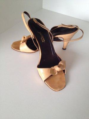 Saroyan Offene Slingback-Pumps Lederpumps Sandaletten camel beige Gr. 37