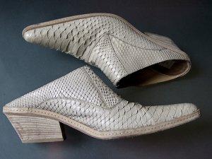 SARTORE Reptilien Leder Python Snake Moules Pantoletten Sabots beige 41 rahmengenäht