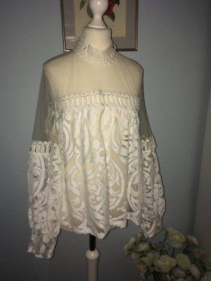 Sasha Top di merletto bianco-bianco sporco