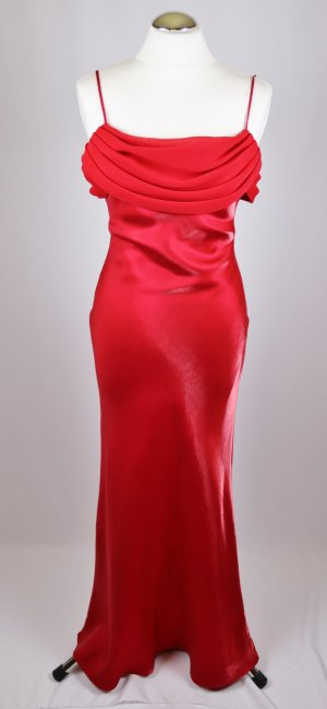 Satin Abendkleid Abendrobe Maxikleid unique Größe S 36 Rot Kirschrot Love Chiffon Slipdress Kleid Drappe