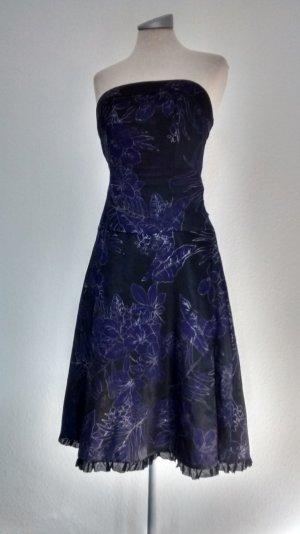Satin Bandeaukleid Corsagekleid Gr. UK 12 40 schwarz lila gothic knielang