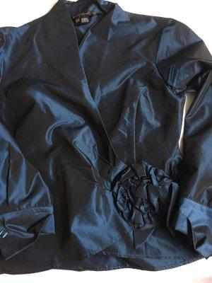 Zara Woman Blusa cruzada azul oscuro