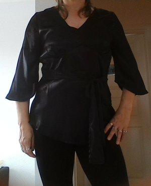 Satin Bluse schwarz mit Bändern