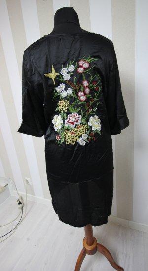 Satin Kimono Kleid Blumen Longbluse Shirt Top
