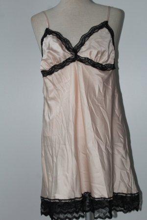Satin Kleid altrosa schwarze Spitze Gr. 42 44 L XL neu Satin Lingerie