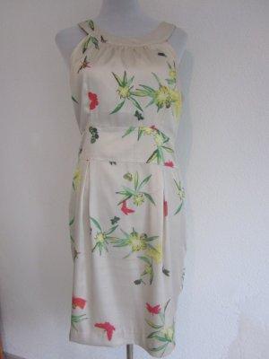 Satin Kleid Creme gemustert Gr 40