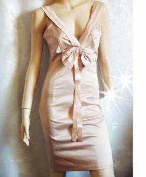 Satin Kleid Etuikleid mit Schleife nude golden NEU