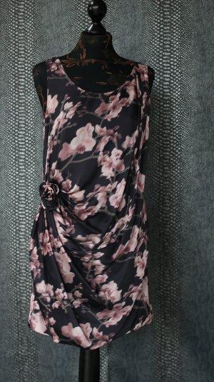 Satin Kleid mit Orchideen