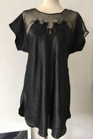 Satin Negligé / Nachthemd schwarz mit Perlen