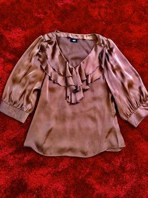 H&M Ruche blouse brons