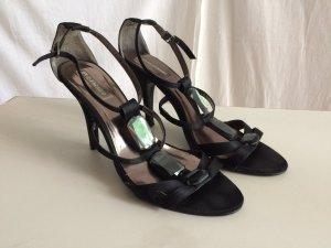 Satin-Sandaletten mit Spiegelsteinen