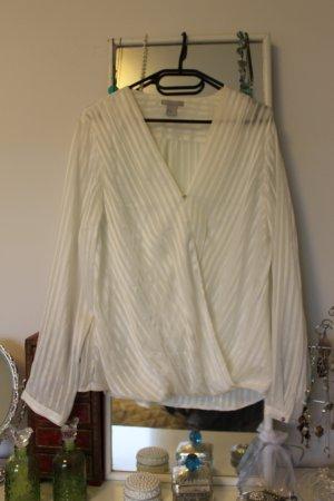 Satin-Streifen-Bluse in Wickeloptik