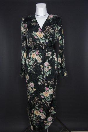 Satin Wickelkleid in schwarz mit Blumenmuster Gr. 38