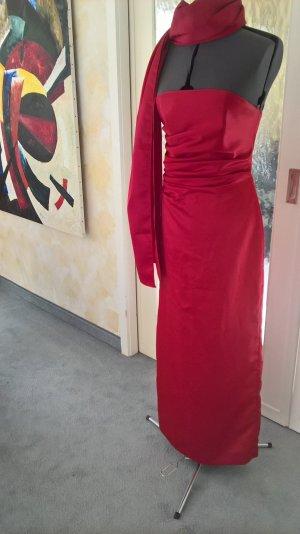 Satinabendkleid gewickelt mit Schal