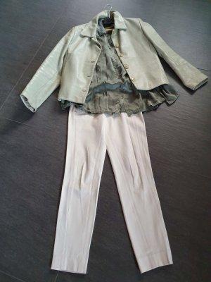 Glanzende blouse khaki Gemengd weefsel