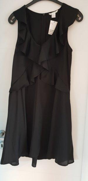 Satinkleid schwarz von H&M - mit Volants Gr. 36 - NEU! OP 39,99 €