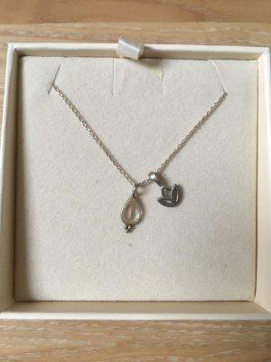 Collar estilo collier gris claro plata verdadero