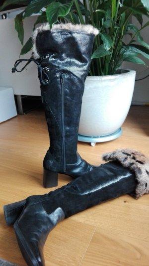 SAURO Italy Overknee Stiefel mit Fell schwarz Gr. 37