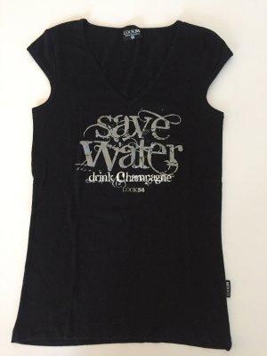 Save water Drink Champagne cooles Statement Shirt schwarz von Look 54