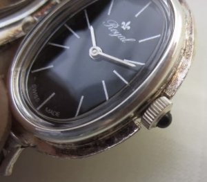 Savonette Damentaschenuhr Royal Schweizer Taschenuhr Handaufzug Uhrenanhänger Kettenuhr Anhänger mit Kette ROYAL Schweiz Swiss Watch