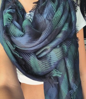 Knitted Scarf dark blue-lime-green