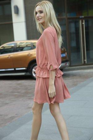 Schärpen taille V-ausschnitt Kleid