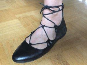 Schaft-/Riemchen-Ballerinas Varese, Gr. 37/38, schwarz, wie neu