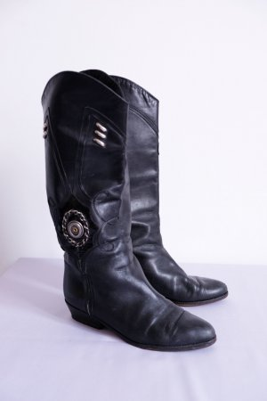 schaftstiefel boho gypsy slouch schwarz cowboyboots 39 leder