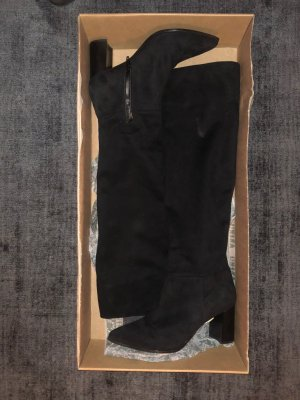 Schaftstiefel Gr. 3 schwarz Velourleder knapp overknee