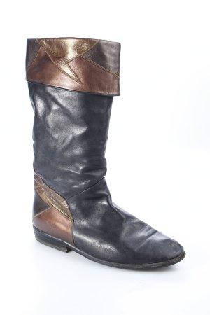 Bottes à l'écuyère noir-bronze cuir