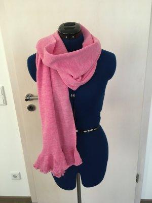 Bufanda de punto rosa neón