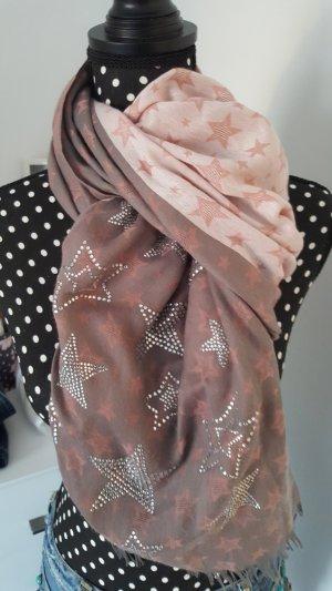 Neckerchief pink-silver-colored viscose