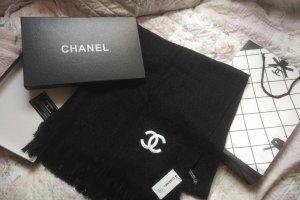 Chanel Écharpe à franges noir cachemire