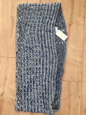Crochet Scarf natural white-blue
