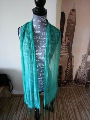 Bufanda de flecos turquesa