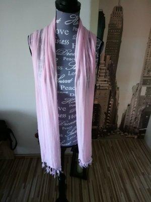 Bufanda de flecos rosa claro