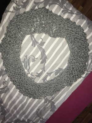 Crochet Scarf grey-silver-colored