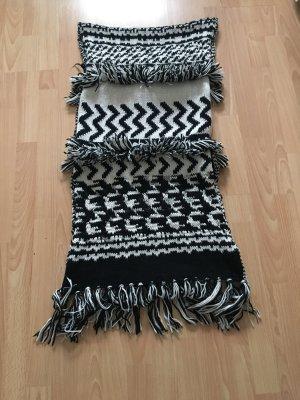 H&M Bufanda de flecos negro-blanco puro